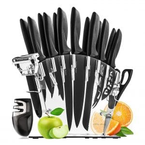 Home Hero Stainless Steel 6 Steak Knives Set with Block