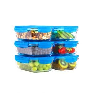 Elacra 6-Pack Glass Food 28oz Storage Containers