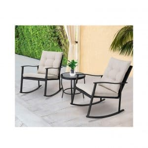 SOLAURA Outdoor Furniture 3-Piece Rocking Set