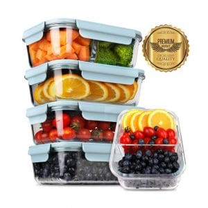 DEKINMAX 5-Pack Upgrade 2019 Glass Meal Prep Leak Proof Containers